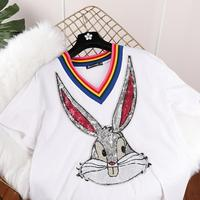 Women Summer Short Sleeve Sequined Bunny Print T Shirts Fashion White Top Tees Women Girls Designer Clothing Cotton