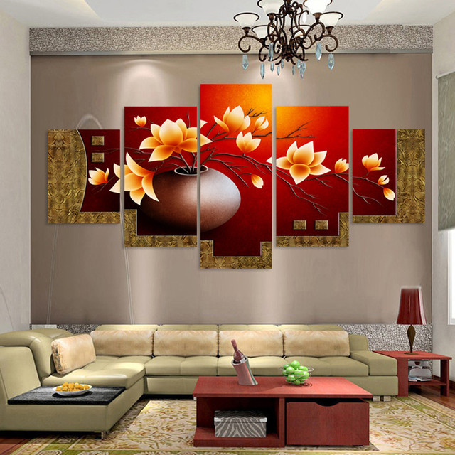 5 Pieces Canvas Painting Magnolia Flower Vase Wall Art Modular Oil Painting On The Wall Pictures : magnolia wall art - www.pureclipart.com
