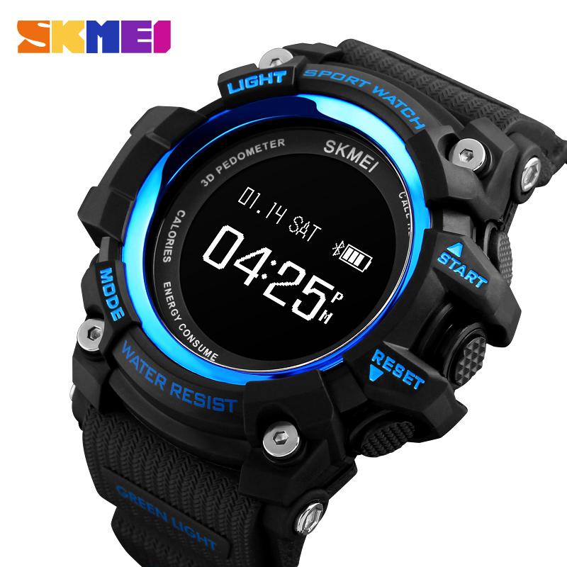 c9f78d6d5fd Recarregável Do Bluetooth Relógio Inteligente Pedômetro Calorias Freqüência  Cardíaca Homens Esporte Relógios Digitais Relógio de Pulso Militar Relogio  ...