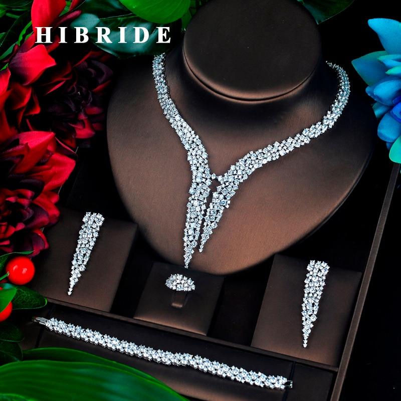 HIBRIDE الفاخرة تصميم AAA مكعب الزركون الزفاف طقم مجوهرات أعلى جودة بريليانت الأزياء الخطبة مجموعة N 674-في أطقم المجوهرات من الإكسسوارات والجواهر على  مجموعة 1