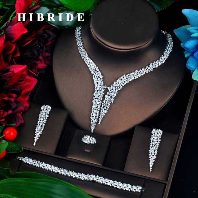 HIBRIDE الفاخرة تصميم AAA مكعب الزركون طقم مجوهرات الزفاف جودة عالية بريليانت موضة الخطوبة مجموعة N 674