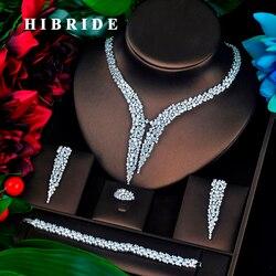 HIBRIDE Luxe Ontwerp AAA Kubieke Zirkoon Bruids Sieraden Set Top Kwaliteit Brilliant Fashion Engagement Set N-674
