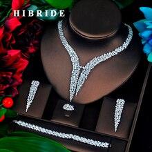 Hibride design de luxo aaa zircão cúbico conjunto de jóias de noiva qualidade superior brilhante conjunto noivado moda N 674