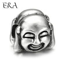 Stainless Steel European Beads Double Side Maitreya Buddha Charms Hole 5mm for Jewelry Making Supplies Bracelet Spacer Eur Bead