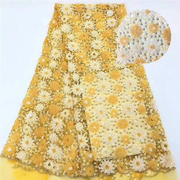 Tollola Heavy Sequins Yellow African Lace Fabric French Tulle Lace Fabric For Wedding Dress Nigerian French Lace Fabric