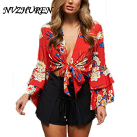 NVZHUREN Floral Print Women Sexy Blouses V Neck Lace Up Red Crop Shirts Summer Womens Tops