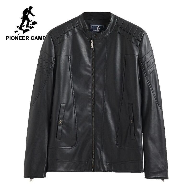 Pioneer Camp 2017 Новое поступление Мужская кожаная куртка выосокачественый матириал Мяхкая PU кожа модный модель известный бренд 611310
