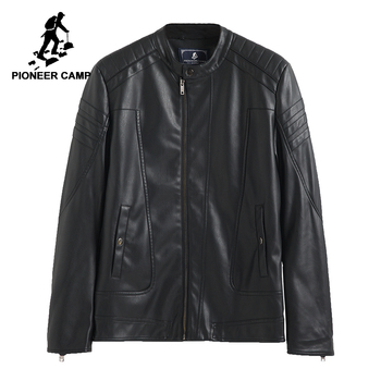 Pioneer Camp leather jacket autumn winter men windbreaker motorcycle jacket quality male Pu leather coat for man 611310