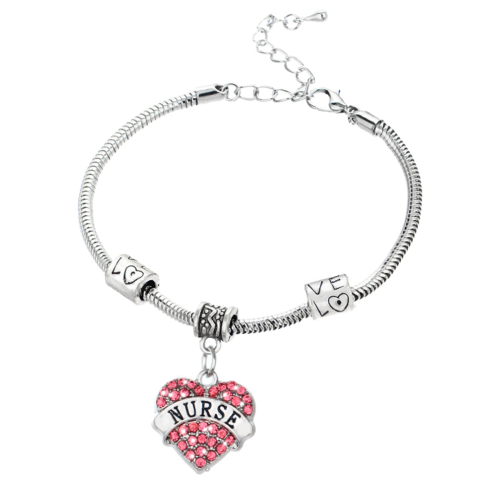 Charm Nurse Xmax Gifts Love Heart Clear Pink Blue Rhinestone Crystal Pendant Silver Bangles Bracelets Party