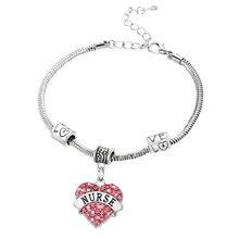 Charm Nurse Xmax Gifts Love Heart Clear Pink Blue Rhinestone Crystal Pendant Silver Bangles Bracelets Party Women Men Jewelry