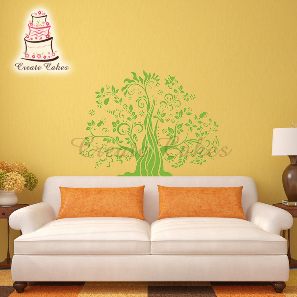 ₩100% Food Grade Tree Pattern Large Wall Stencil Plastic Patting ...