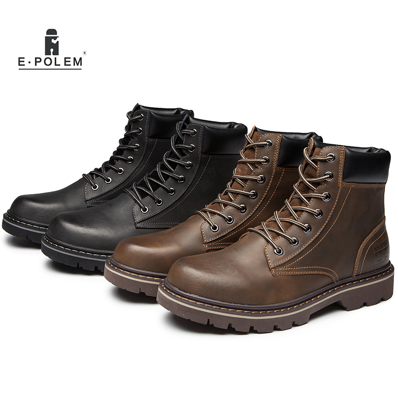 Men Genuine Leather Boots Fur Lining 2017 Winter Boots Shoes Vintage Mens Ankle Martin Boots Male Vintage Cool Motorcycle Shoes