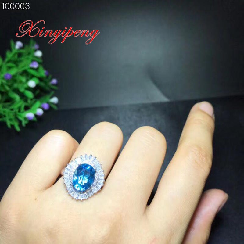 Xin yi peng 925 silver inlaid natural topaz ring, woman ring, elegant and generous, holiday anniversary giftXin yi peng 925 silver inlaid natural topaz ring, woman ring, elegant and generous, holiday anniversary gift