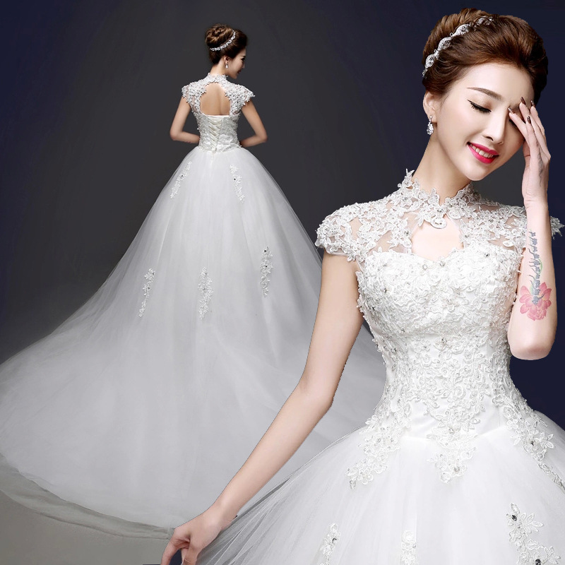 2017 New Tail Mandarin Collar Wedding Dress Cut Shoulder Crystal Dresses With Long Train In From Weddings Events On
