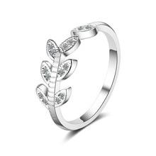 Sweet Little Leaf Flower Shine Cubic Zirconia 925 Sterling Silver Ladies Finger Rings Jewelry Women Birthday Gift Ring Cheap rhinestoned flower leaf finger ring