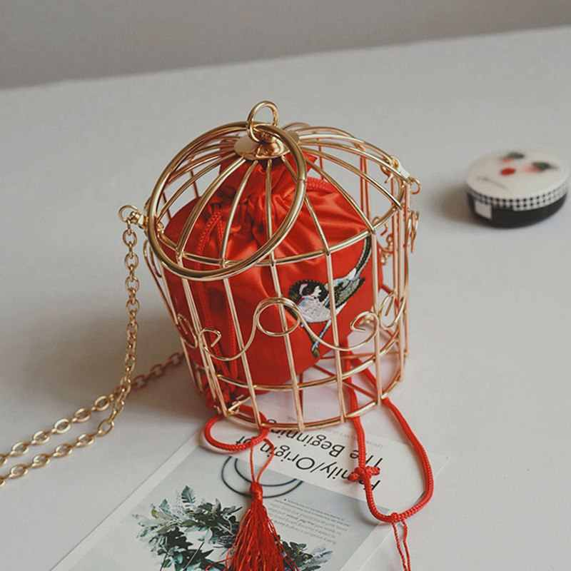 Personality Bird Cage Women Handbag Tote Metal Cage Girls Top-Handle Bags Coin Purse Fashion Party Pouch Tassel Clutch Red
