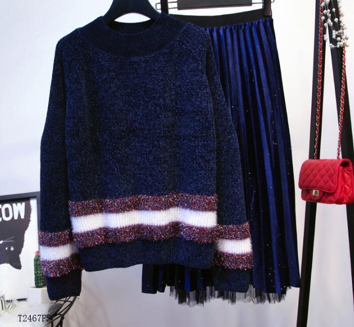 Costume Hiver bleu Tricoté T2467 Blouse Color Photo Nouveautés Solide Mode Européen Couleur 2018 Pour Automne Style Casual Femmes Vêtements 6Rtqwpx