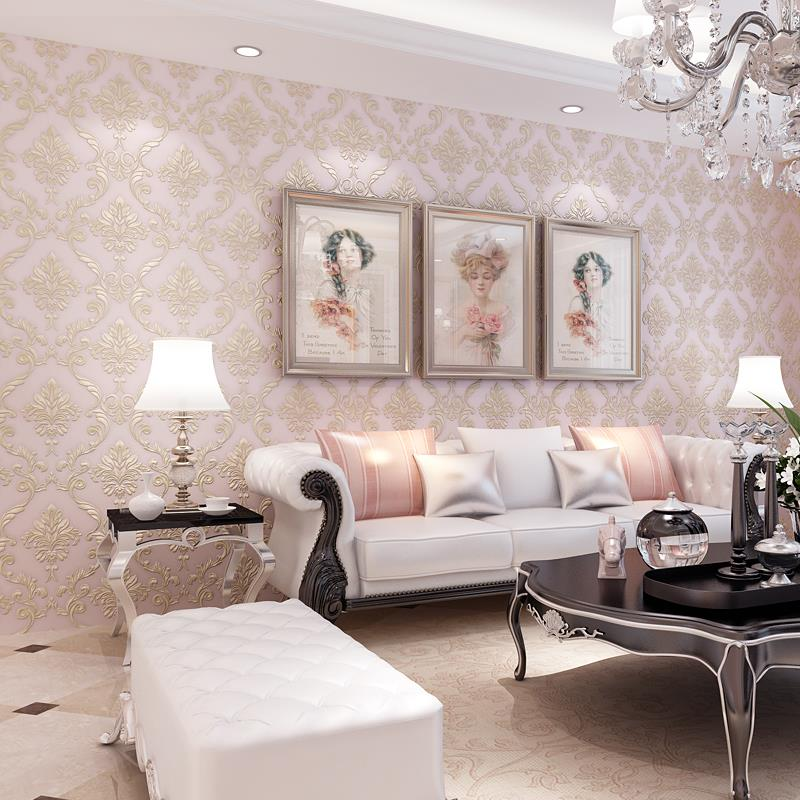 Us 19 87 42 Off European Style Damascus 3d Stereo Embossed Non Woven Damask Wallpaper Home Decor Living Room Bedroom Tv Background Wallpaper 3d In