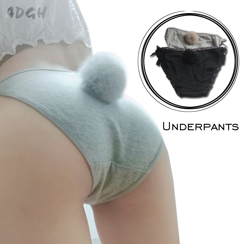 Women Sexy Side Tie Close   Panties   Cute Rabbit Tail Cotton Briefs Female Underwear Seamless Lingerie Underwear Plus Size