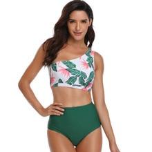 Telotuny, сексуальный купальник для женщин, мягкий, сексуальный, с открытыми плечами, пляжный костюм, с принтом листьев, купальный костюм, высокая талия, женский купальник, Jan8
