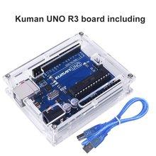 For Arduino, Miroad Uno R3 board ATmega328P with USB Cable+ Uno R3 Case Enclosure New Transparent Gloss Acrylic Computer Box K69