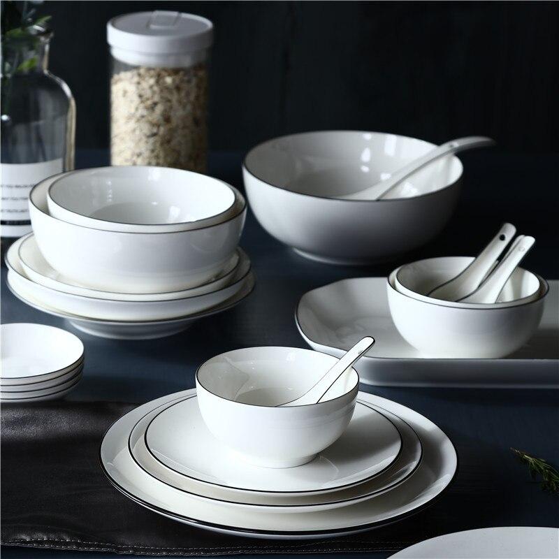 Нордическая фарфоровая кухонная посуда, набор для 2 человек/4 человека/6 человек/8 человек/12 человек, простая тарелка, белая черная линия, керамический набор посуды
