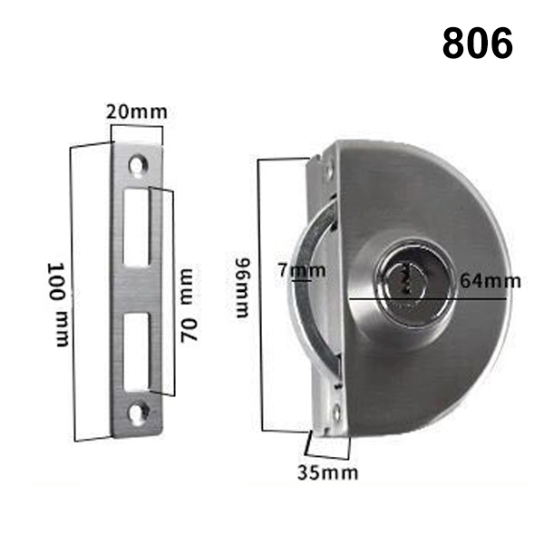 Stainless Steel 10 12mm Gl Door Security Lock Double