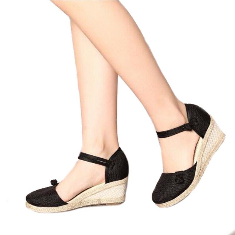 D'été Style Wrap Cheville Talons Sandales National Printemps Solide Hauts rouge Chanvre Wedge noir Chaussures Theagrant Beige Femmes Wss3001 rose Pq5Rtxwn