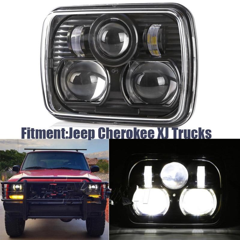 Black 5 X 7 Led Headlight Replacement For Jeep Cherokee Xj Trucks