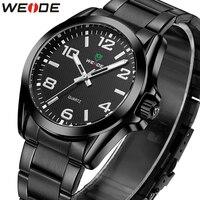 Weide 브랜드 남자 시계 럭셔리 스포츠 석영 방수 시계 남자 스테인레스 스틸 밴드 손목 시계 선물 relogio masculino|수정 시계|   -