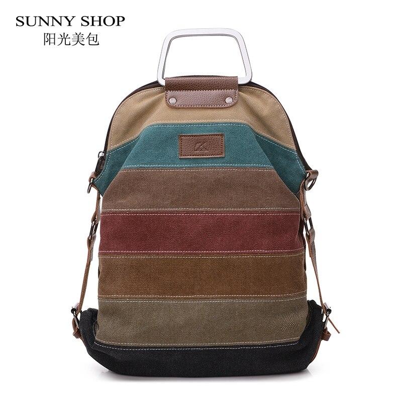 Casual Canvas Backpack Female Vintage Partwork School Backpacks For Adolescent Girls Korean School Sling Bag Bagpack Satchel