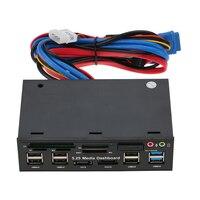 متعدد الوظائف قارئ بطاقة usb 3.0 hub منفذ esata sata الداخلية pc الوسائط أمام لوحة الصوت ل MS cf sd tf m2 mmc بطاقات الذاكرة