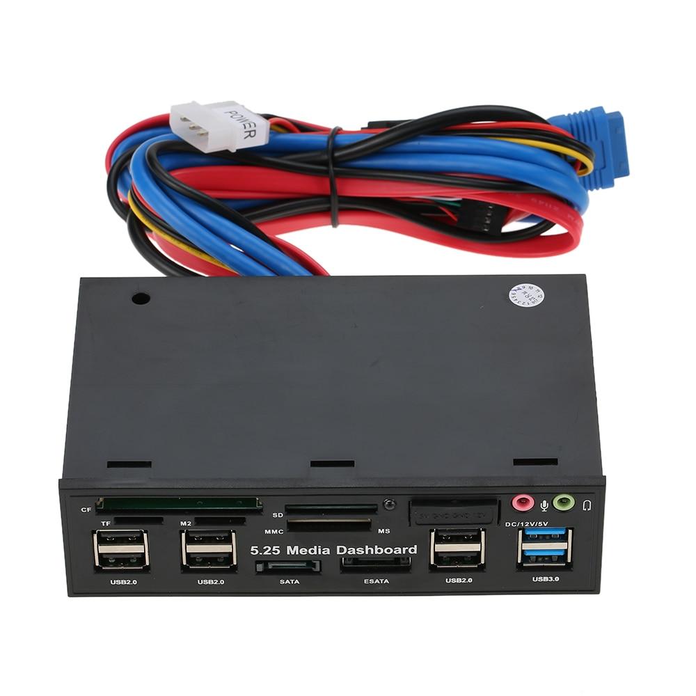 Multi-función Hub USB 3,0 eSATA SATA interna del puerto lector de tarjeta PC medios de comunicación de Audio en Panel frontal para SD MS CF TF M2 MMC tarjetas de memoria