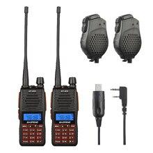 2x Baofeng GT-5TP VHF/UHF Double Bande Jambon Talkie Walkie à Deux Voies Radio + 2x Double PTT Haut-Parleur + 1x Win10 Pris En Charge Câble 1/4/8 W