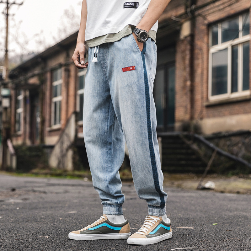Japanese Style Vintage Men Jeans Loose Fit Stripe Spliced Designer Harem Pants Fashion Streetwear Slack Bottom Joggers Jeans Men