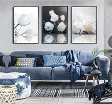 Nordic Simple Mood Tulip Flower 3 Pieces Decorative Painting Modular Picture Wall Art Canvas Painting for Living Room No Framed
