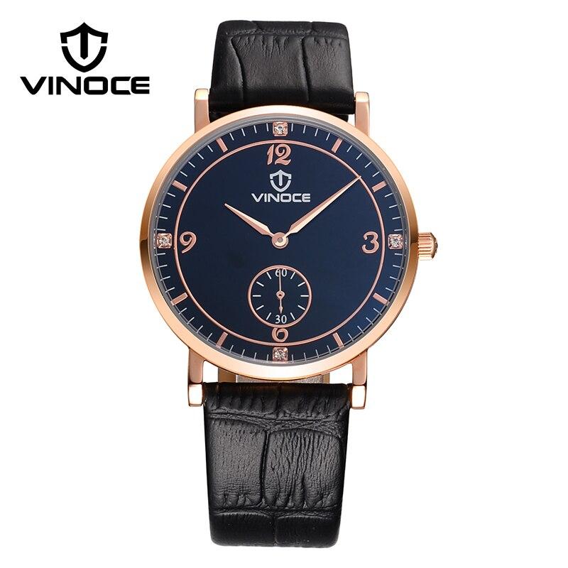 489111f2e8c6 VINOCE Starp Reloj de Cuero Hombres 2017 de Primeras Marcas de Lujo Relojes  de Cuarzo Para