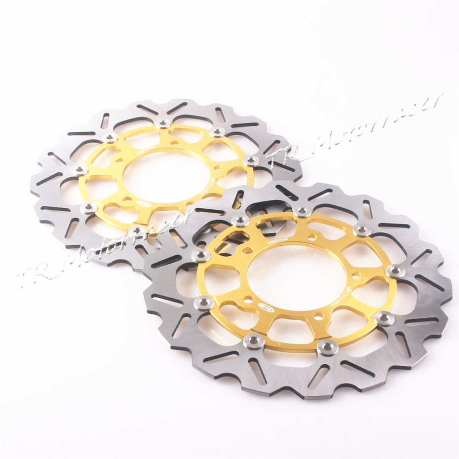 For Suzuki GSX-R600 750 06 07 A pair Front Brake Disc Rotors 2006 2007 GSXR 600 750 & 2005 - 2008 GSXR 1000 Disks Gold full set front rear brake discs disks rotors pads for suzuki gsxr 750 94 95 gsx r 1100 p r s t 1993 1994 1995 1996