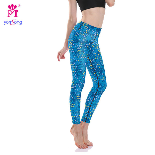 2016 Blue Dots Show Thin Hip Speed Of Super Elastic Breathable Dry Quick Women's Long Leggings   2114