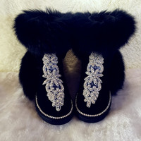 Real Fox Fur Boots Womens Genuine Leather Cowhide Winter Boots Handmade Rhinestone Winter Shoes Women Snow Plush Boots Wool