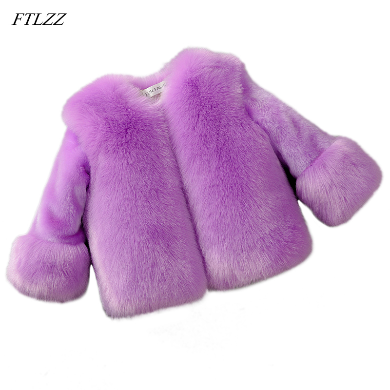 Baby Girls Fur Jackets Coats Children Faux Fox Fur Coat Winter Fashion Thicken Warm Parka Jackets Kids Clothes Fur Outerwear winter fashion kids girls raccoon fur coat baby fur coats