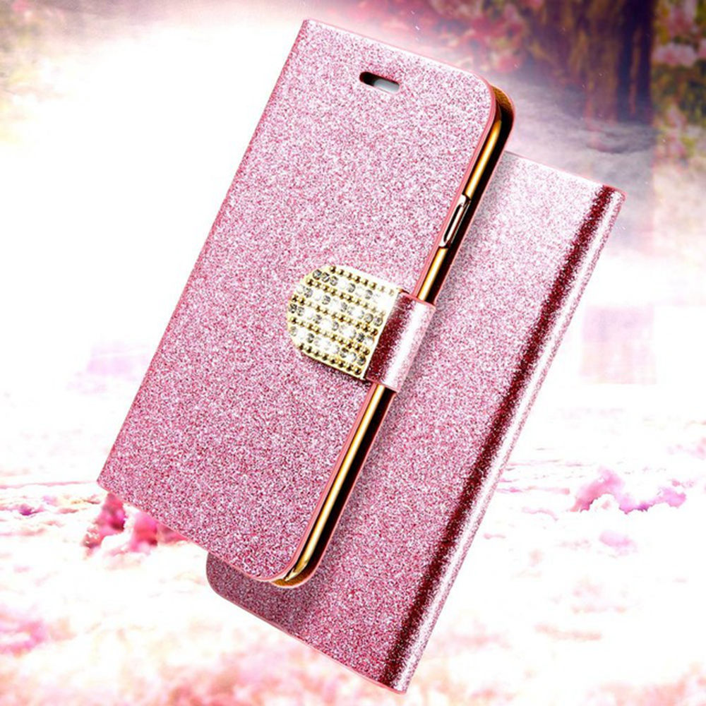 KISSCASE Glitter Case For Samsung Galaxy S8 Plus S6 Edge Flip Card Solt Cover For iPhone 5 5s 6 6s 7 Plus Full Protective Coque