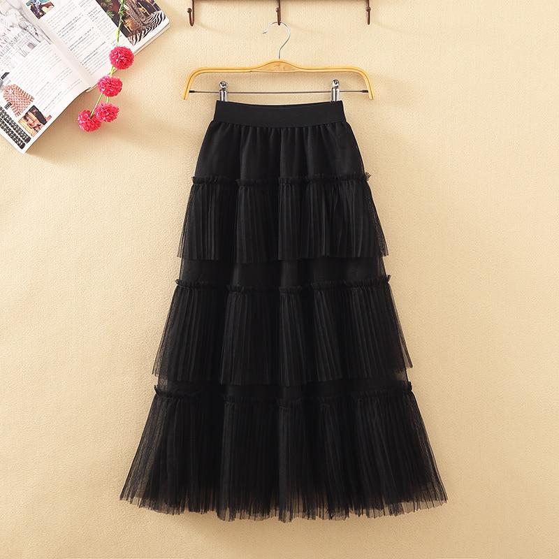 216d1e470 2019 nuevo primavera y verano pastel falda Multi-nivel malla Hada falda  imperio plisada falda hasta ...