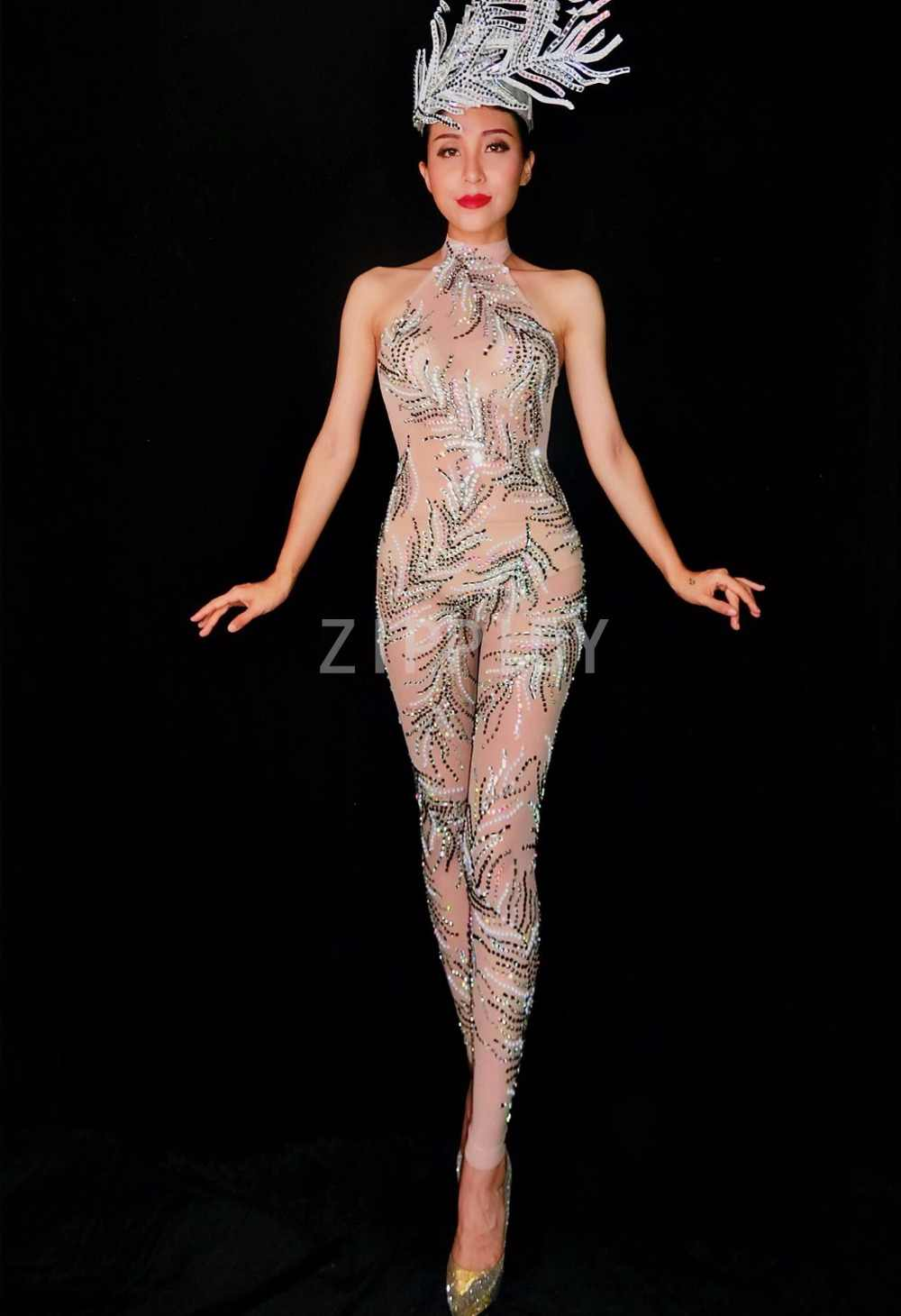 5a5a917ffcb5 ... New Style Rhinestones See Through Jumpsuit Women's Dance Party  Nightclub Outfit Female Singer Clothes Stones Pattern ...