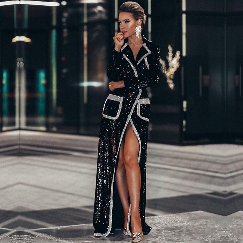 Adyce 2020 New Winter Women Fashion Trench Coats Black Sequin Deep V Long Sleeve Double Breasted Long Style Coat Women Maxi Coat