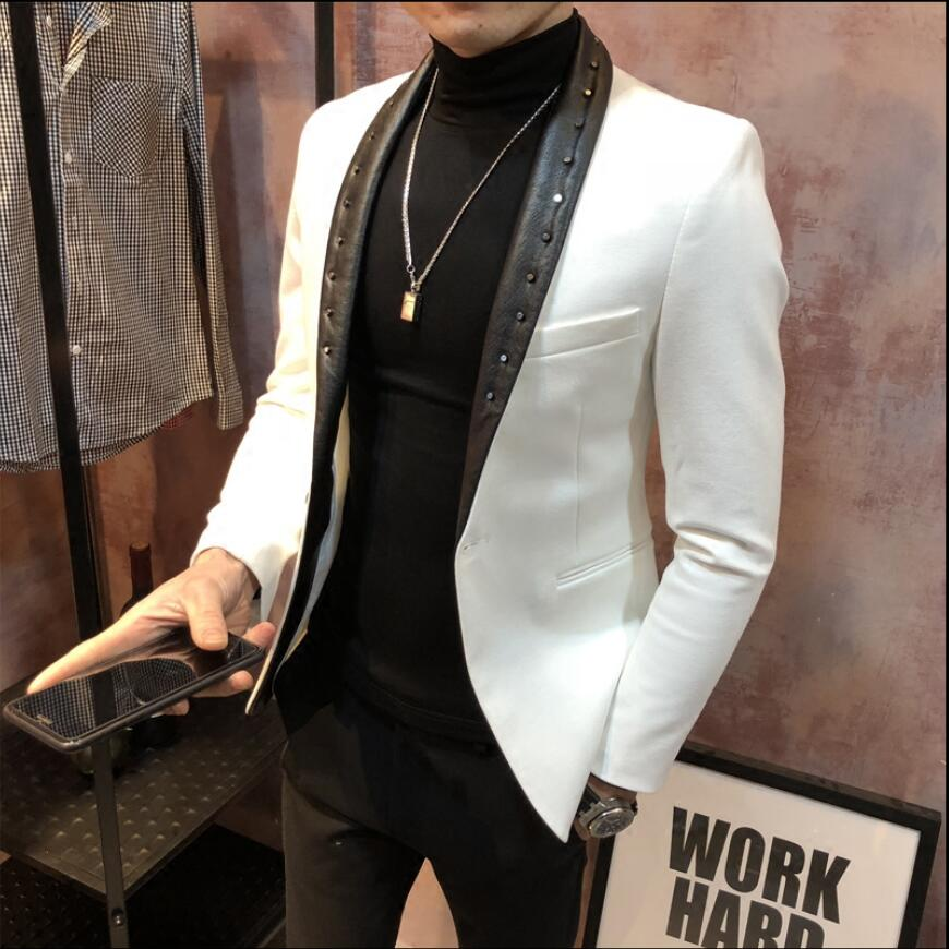 Rivet Jackets Men Fashion Suits Dress Host Slim Korean Version Of The Small Suit Nightclub Barber Black Jacket Spring And Autumn