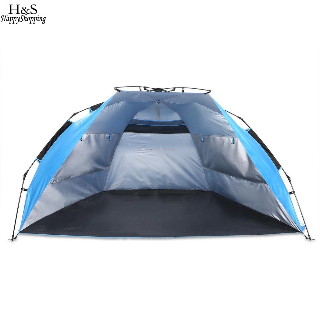 Pop-up Tent Beach Tent Polyester Waterproof UV Protect 3-4 Person Outdoor Automatic Camping Hiking Fishing Tents Lightweight new outdoor 3 4person big space anti uv pyramid beach tents waterproof family camping tent