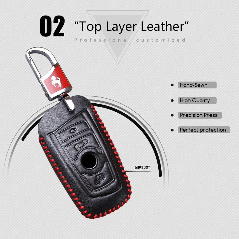 2018 Nuevo Genuine Leather Car Key Case cubierta para BMW 520 525 F30 - Accesorios de interior de coche - foto 4
