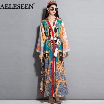 AELESEEN Vintage Dress Print 2019 Spring Autumn Fashion Full Sleeves Belt Contrast Color Muslim Printed Slim Long Maxi Dress
