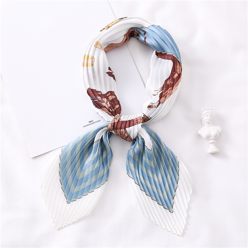 2020 New Women Crinkle Silk Scarf Square Female Chiffon Pleated Neck Scarfs For Ladies Head Band Animal Print